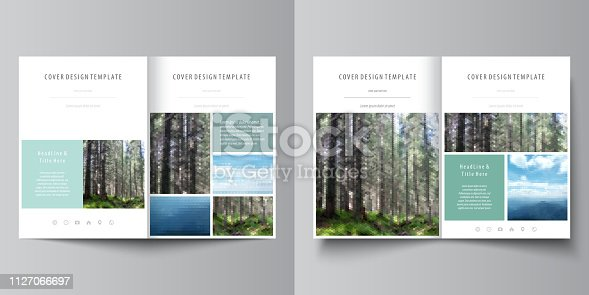 Business templates for bi fold brochure, magazine, flyer, booklet or annual report. Cover design template, easy editable vector, abstract flat layout in A4 size. Colorful background made of triangular or hexagonal texture for travel business, natural landscape in polygonal style.