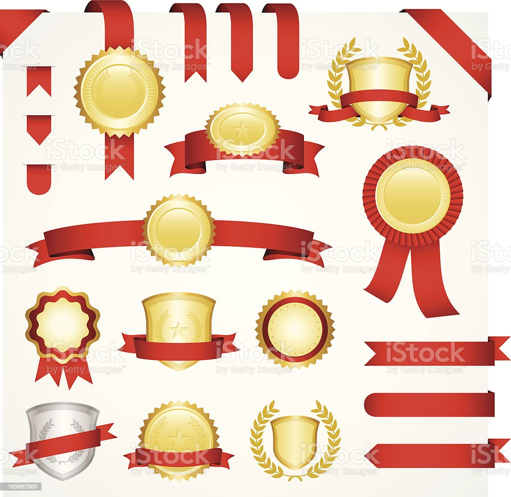 Templates for gold and silver medallions with red ribbons  royalty-free templates for gold and silver medallions with red ribbons stock vector art & more images of award ribbon
