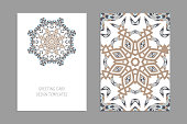Templates for greeting and business cards, brochures, covers with floral motifs. Oriental pattern. Mandala. Wedding invitation, save the date, RSVP.