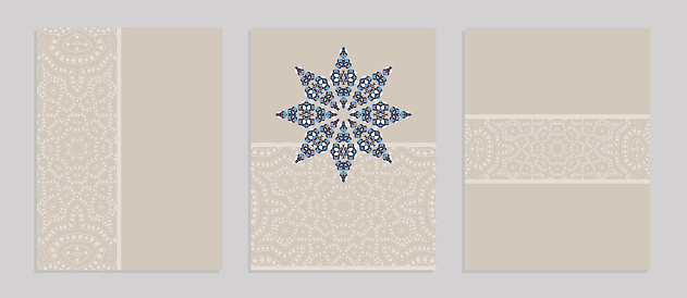 Templates for greeting and business cards, brochures, covers with floral motifs. Oriental lace pattern. Mandala.