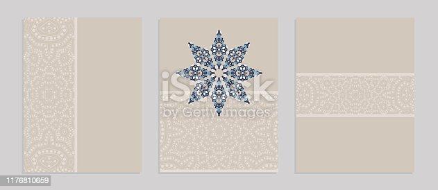 Modelos para saudação e cartões de visita, folhetos, capas com motivos florais. Teste padrão oriental do laço. Mandala.