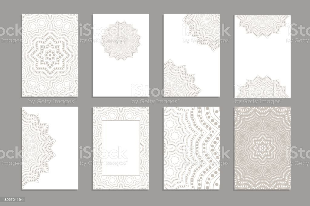 Templates for greeting and business cards, brochures, covers with floral motifs. Oriental lace pattern. Lacy mandala. vector art illustration