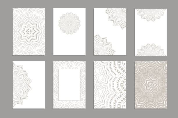 templates for greeting and business cards, brochures, covers with floral motifs. oriental lace pattern. lacy mandala. - arab stock illustrations