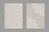 Templates for greeting and business cards, brochures, covers with floral motifs. Oriental lace pattern. Lacy mandala. Wedding invitation, save the date,RSVP. Arabic, Islamic, asian, indian, african motifs.