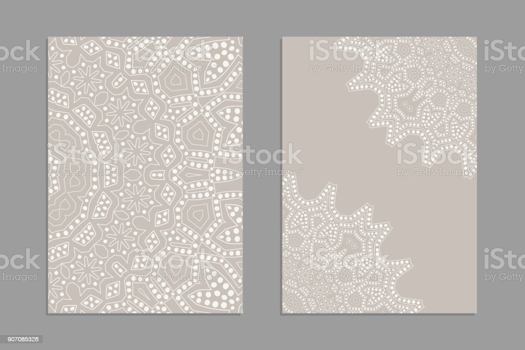 Templates for greeting and business cards, brochures, covers with floral motifs. Oriental lace pattern. Lacy mandala. Wedding invitation, save the date,RSVP. vector art illustration