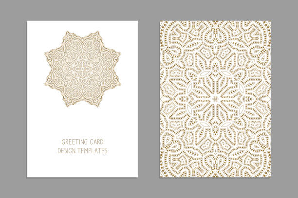 Templates for greeting and business cards, brochures, covers with floral motifs. Oriental pattern. Mandala. Wedding invitation, save the date, RSVP. Templates for greeting and business cards, brochures, covers with floral motifs. Oriental pattern. Mandala. Wedding invitation, save the date, RSVP. Arabic, Islamic, moroccan, asian, indian native african motifs. morocco stock illustrations