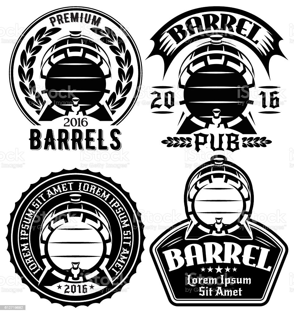 templates for label or menu with barrels and barley vector art illustration