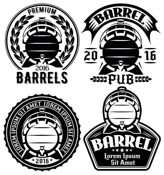 templates for label or menu with barrels and barley – Vektorgrafik