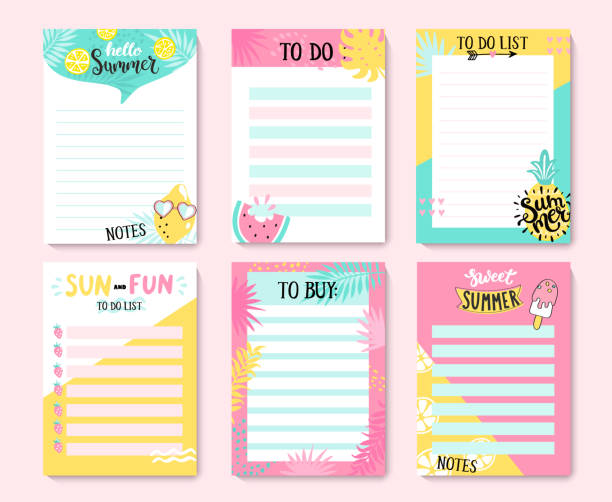 illustrazioni stock, clip art, cartoni animati e icone di tendenza di templates for notes, to do and buy lists. - to do list