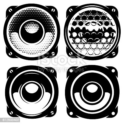 set of vector templates for posters or badges with monochrome acoustic speakers