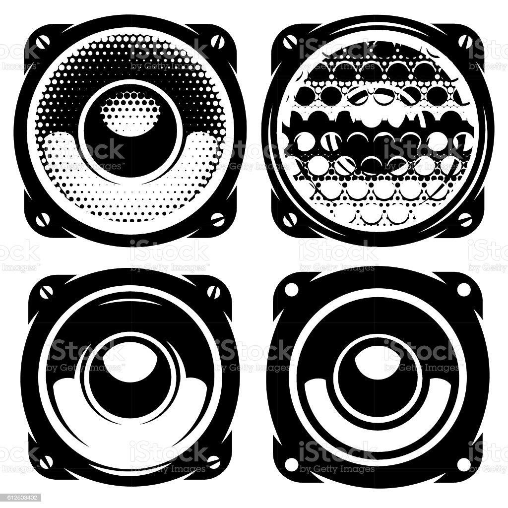 templates for posters or badges with monochrome acoustic speakers vector art illustration