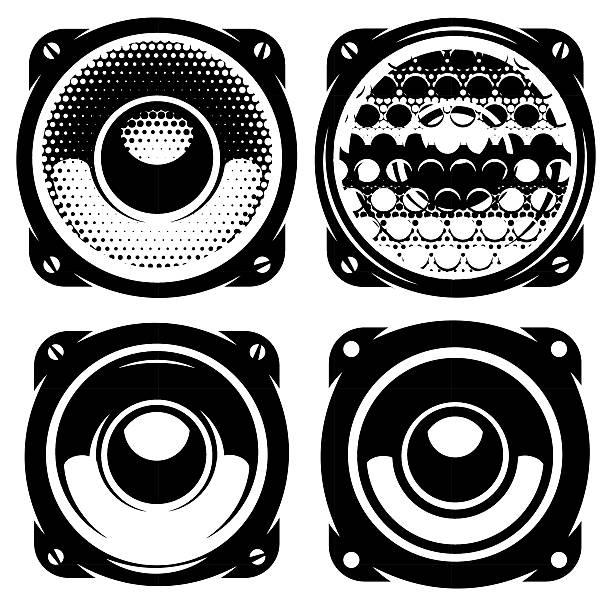 bildbanksillustrationer, clip art samt tecknat material och ikoner med templates for posters or badges with monochrome acoustic speakers - speaker