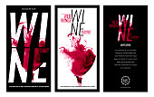 Templates for promotions or presentations of wine events. Illustration with liquid effect. Stains of red wine.