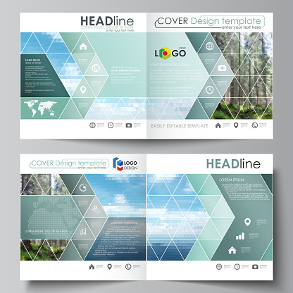 Templates for square design bi fold brochure, flyer. Leaflet cover, vector layout. Colorful background made of triangular or hexagonal texture, travel business, natural landscape in polygonal style