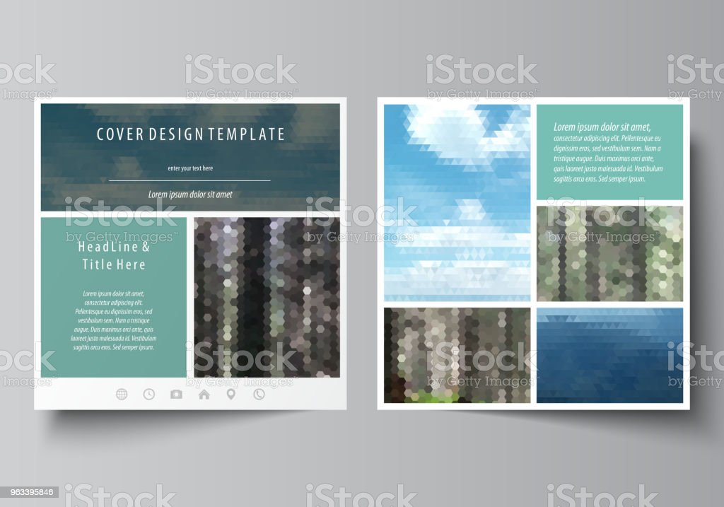 Templates for square design brochure, magazine, flyer, booklet or annual report. Leaflet cover, abstract vector layout. Colorful background, travel business, natural landscape in polygonal style - Grafika wektorowa royalty-free (Biznes)