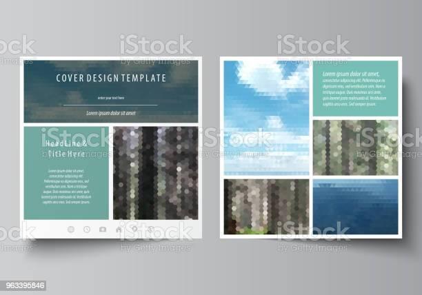 Szablony Broszury Projektowej Czasopisma Ulotki Broszury Lub Raportu Rocznego Okładka Ulotki Abstrakcyjny Układ Wektorowy Kolorowe Tło Biznes Turystyczny Naturalny Krajobraz W Stylu Wielokątnym - Stockowe grafiki wektorowe i więcej obrazów Biznes