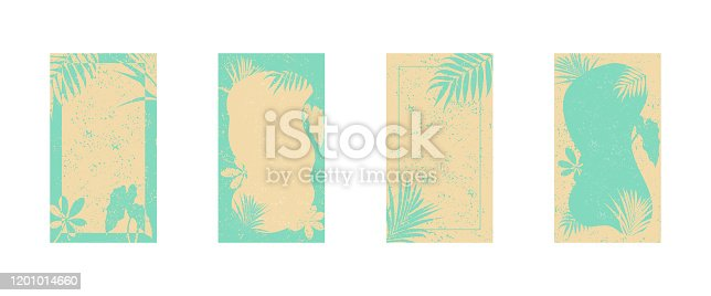 Set of abstract backgrounds with tropical leaves for social media. Templates for stories. Vector EPS 10.