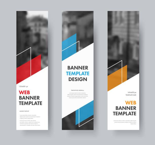 ilustrações de stock, clip art, desenhos animados e ícones de templates for vertical web banners with diagonal elements for text, color design elements, lines and space for photos. - vertical