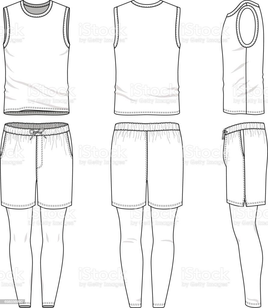 Templates Of Blank Vest Shorts Jogging Pants Stock Vector Art More