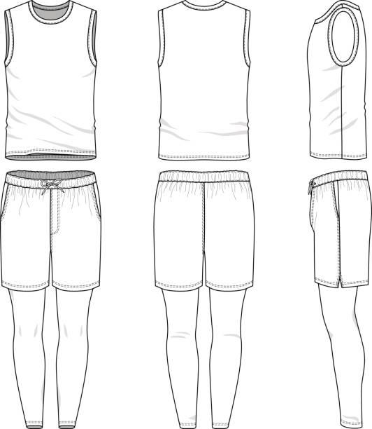 templates of blank vest, shorts, jogging pants - mens fashion stock illustrations, clip art, cartoons, & icons
