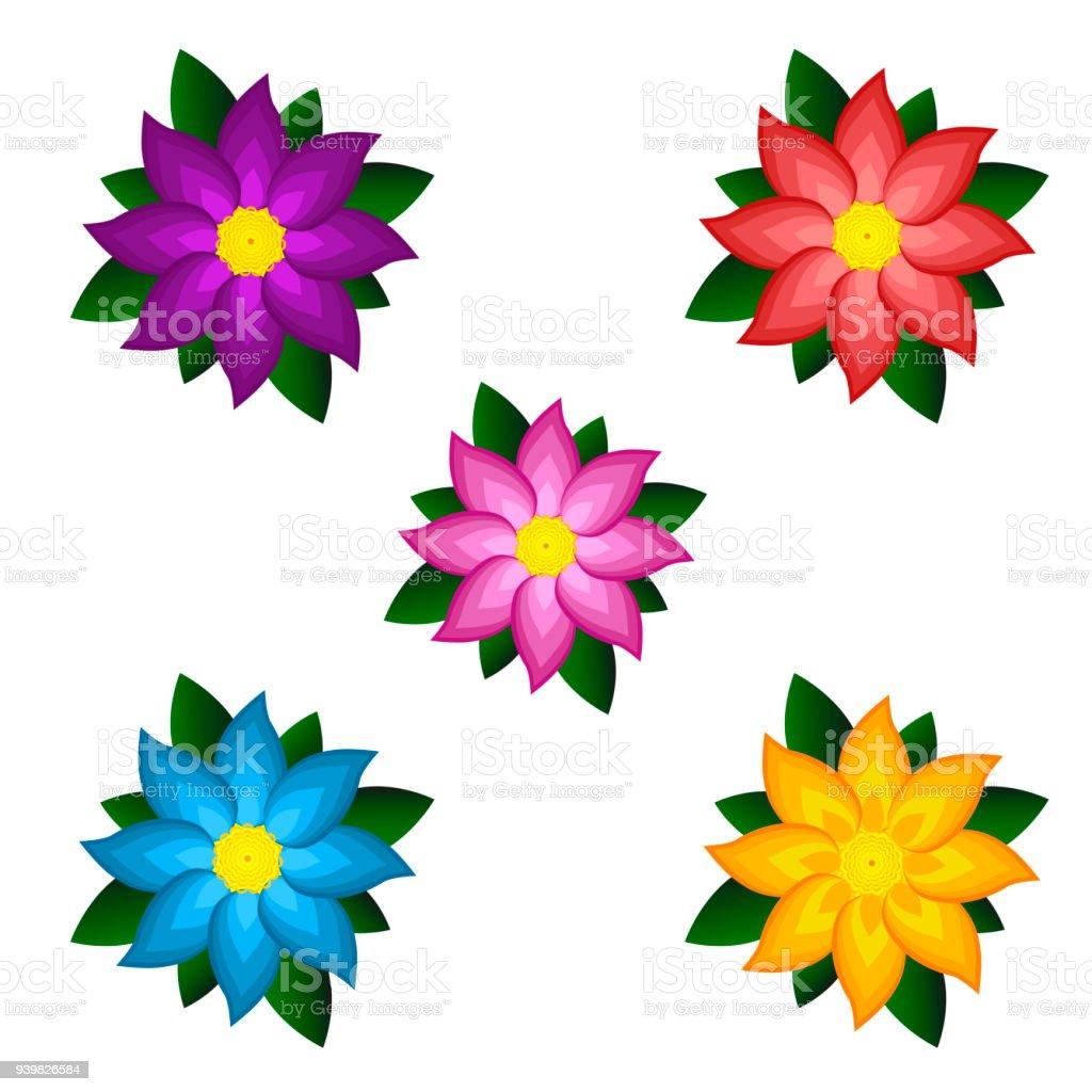 Modèles De Fleurs Stylisées Couleurs Vif Vecteurs Libres De