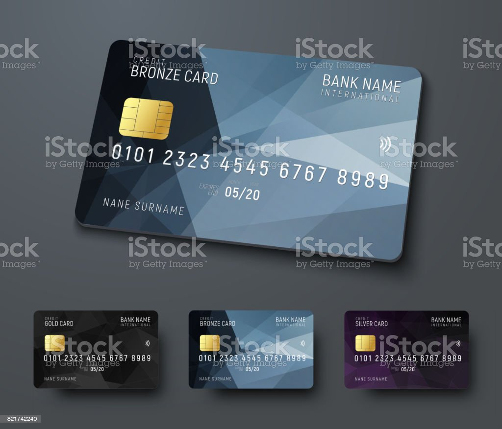 Templates of credit (debit) bank cards with black polygonal abstract design elements vector art illustration