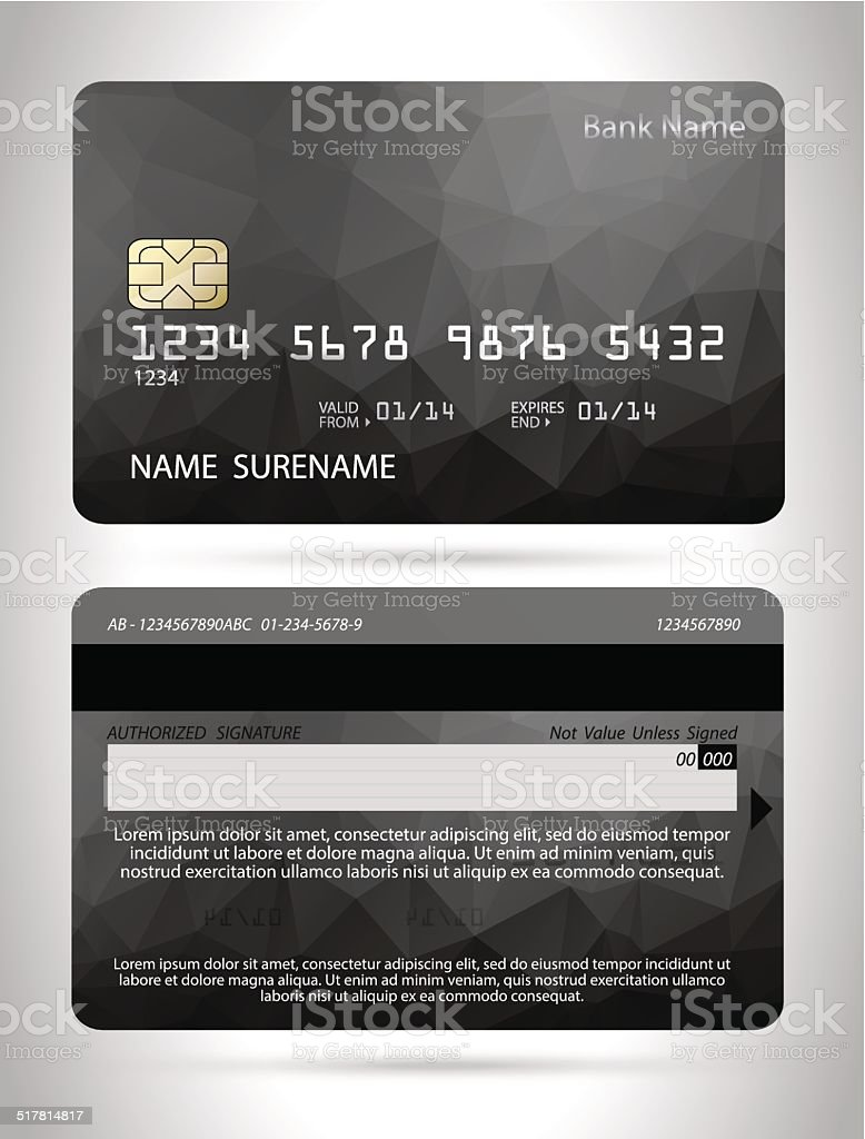 Templates of credit cards design with a polygon background vector art illustration