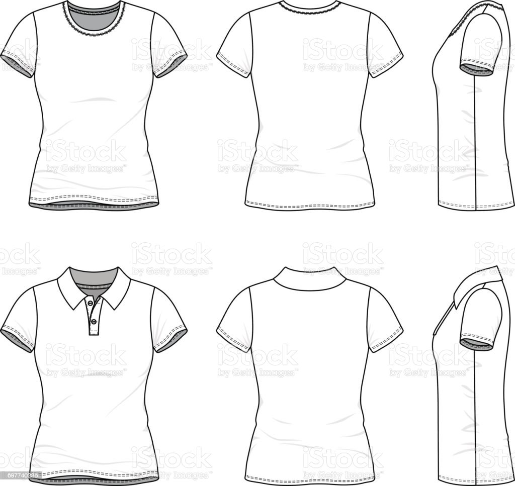 Templates of female tshirt and polo shirt stock vector art templates of female t shirt and polo shirt royalty free stock vector art pronofoot35fo Images