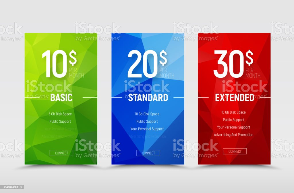 Templates of  price tables with polygonal abstract green, blue and red design elements. - illustrazione arte vettoriale