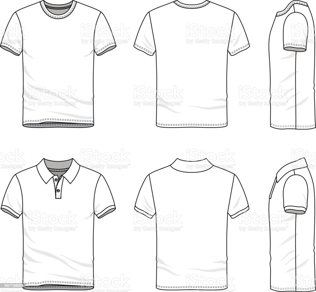 Templates of t-shirt and polo shirt. vector art illustration