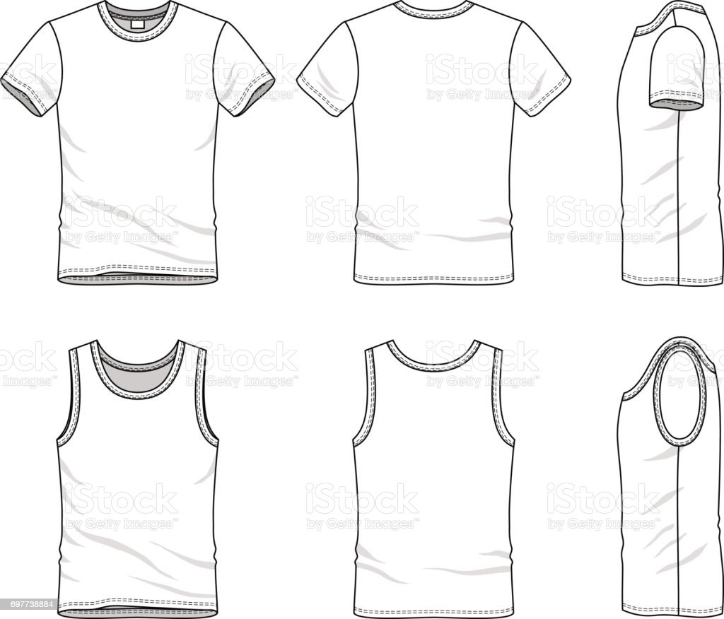 Templates Of Tshirt And Vest Stock Vector Art & More Images of ...