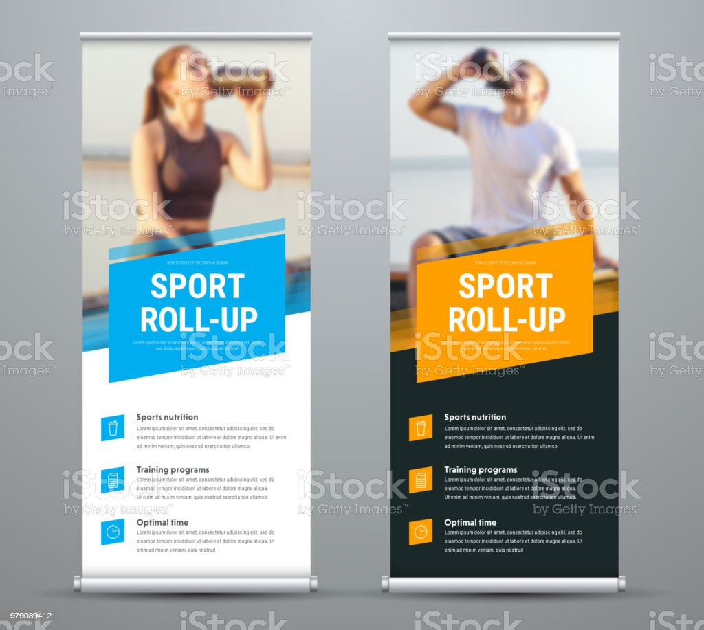 templates of vector white and black rollup banners on the theme of