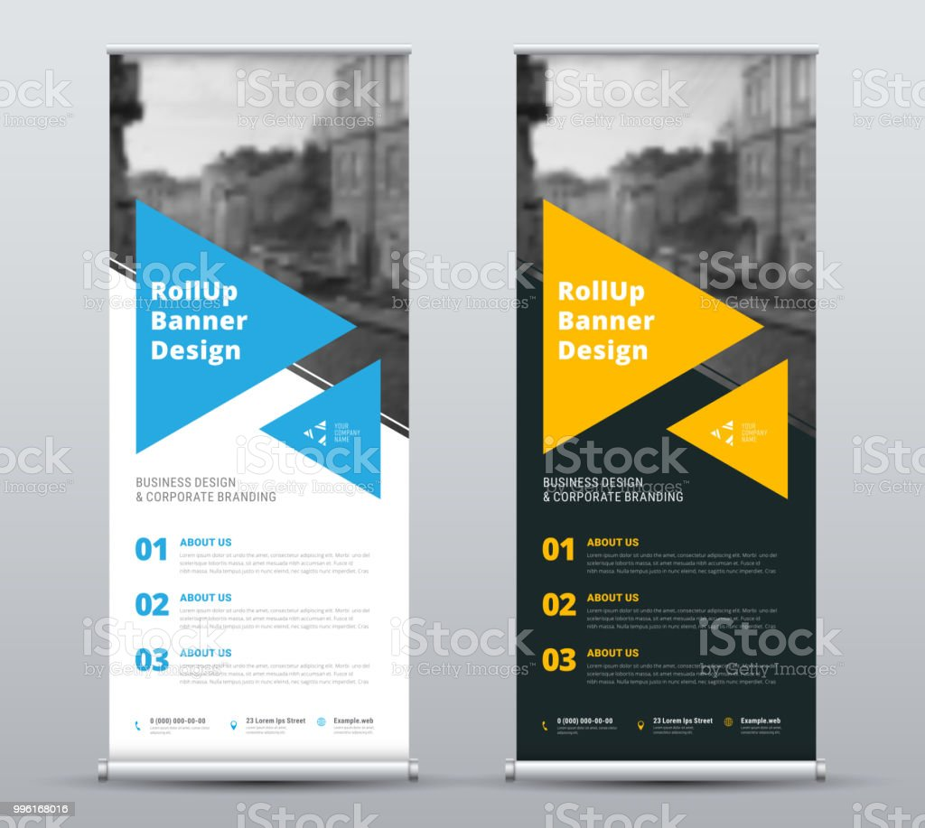 Templates of vector white and black roll-up banners with a place for a photo. vector art illustration