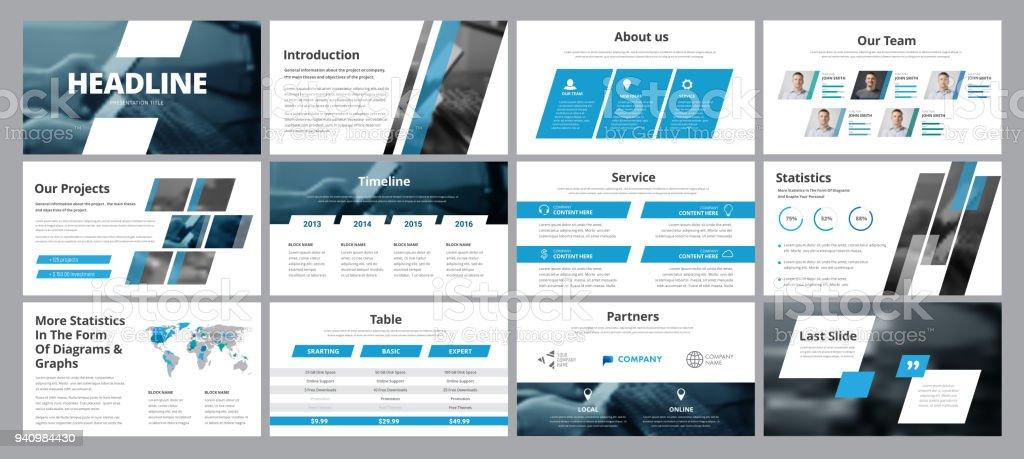 Vorlagen der Vektor weiß-blauen Folien für Präsentation und Berichte – Vektorgrafik