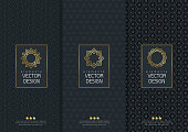 Vector set of templates packaging, labels and frames for packaging for luxury products in trendy linear style, banner, poster, identity, branding, logo icon, vector illustration