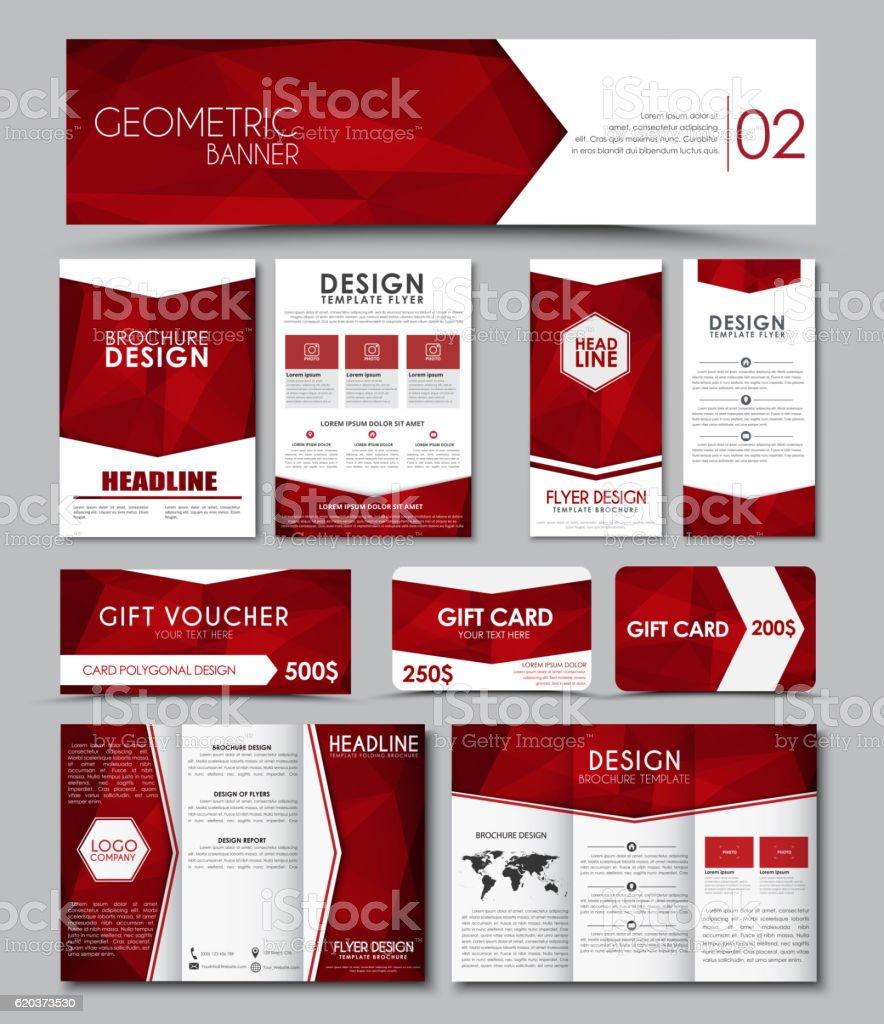 Templates polygonal corporate identity in the set. vector art illustration