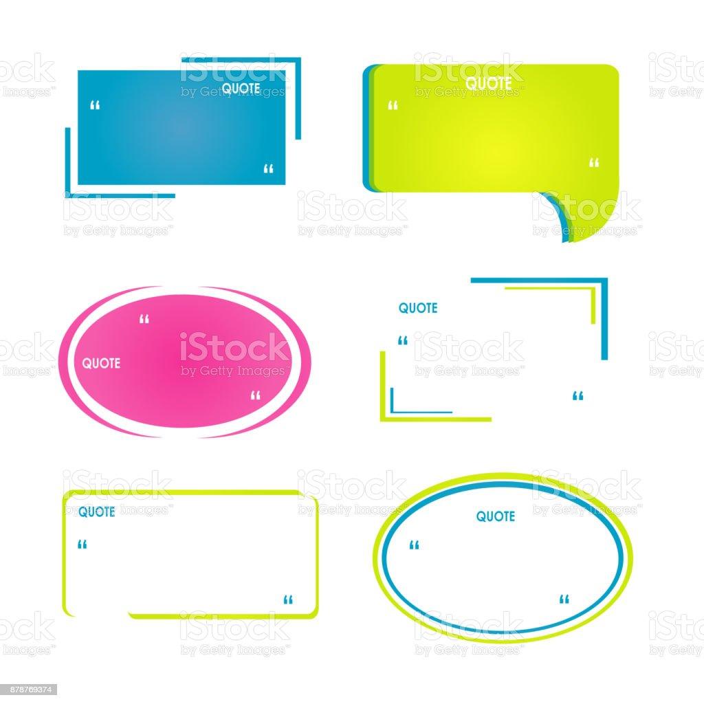 Vorlagen Angebot Bubbles Verschiedene Farbige Zitat Box Für