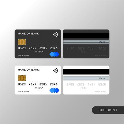 Templates realistic credit card set design.