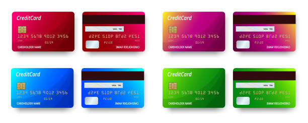 templates realistic detailed credit cards set design. vector plastic credit card or debit card - credit cards stock illustrations, clip art, cartoons, & icons
