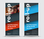 Templates roll-up banners with diagonal elements for photo and text hover over each other. Universal modern design for business and advertising, with red, blue black lines.
