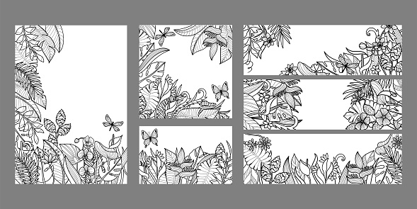 Templates set with tropical leaves and flowers. Exotic covers collection