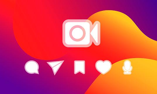 Templates social media icons on a bright background. Social media  concept. EPS 10 vector.