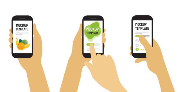 szablony ze smartfonem trzymającym ręce - ręka człowieka stock illustrations