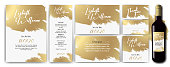 Templates with white and gold designs. Invitation Save the Date, thank you card, menu list, label for beverage bottle. Invitation Save the Date. Luxury, elegance, simple, artistic. Vector stroke. Vector designs.