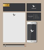 Templates:blank, business cards, smart phone, brand-book,pencil, Vector illustration.