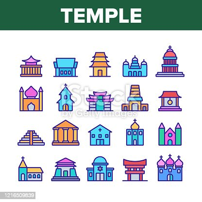 Temple Architecture Building Icons Set Vector. Religion Collection Nation Temple Building, Catholic And Christian Church, Islamic And Buddhism Linear Pictograms. Color Contour Illustrations