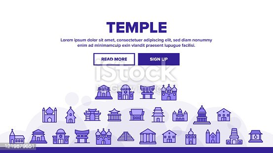 Temple Architecture Building Landing Web Page Header Banner Template Vector. Religion Collection Nation Temple Building, Catholic And Christian Church, Islamic And Buddhism Illustrations
