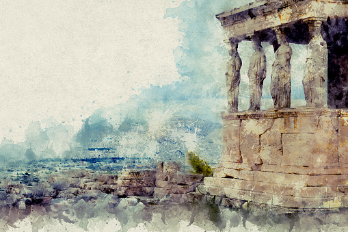 Temple Erechtheion with the famous porch of the caryatids instead of columns in the Acropolis
