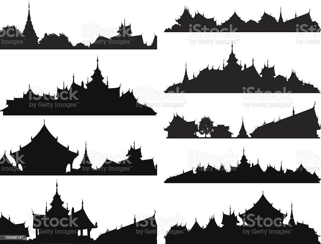Temple foregrounds vector art illustration