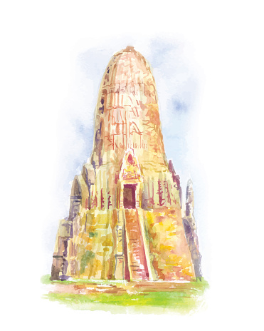 Temple in Thailand. Ayutthaya. The Buddhist stupas. Watercolor h